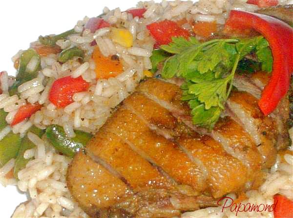 Piept de rata cu legume si orez la wok