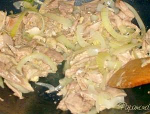 carne de curca cu ceapa la wok