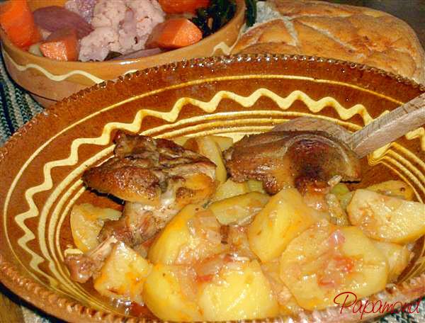 rata pe cartofi dulci, la tava