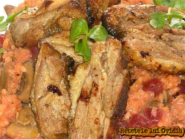risotto cu sfecla rosie si carne de curcan