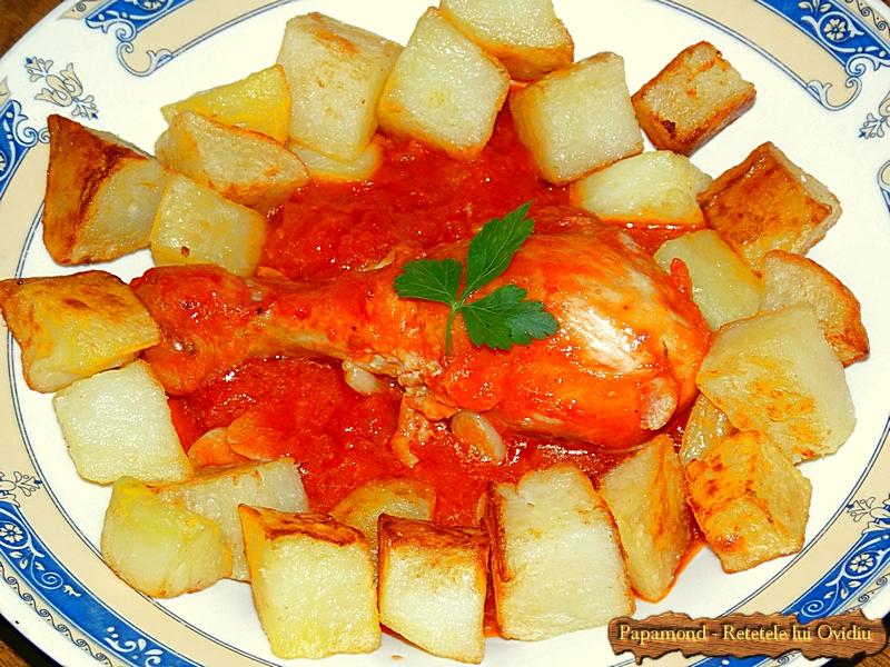 pulpe de pui cu sos de rosii si cu cartofi pufosi - Papamond (6)