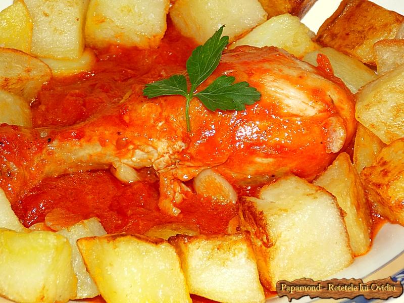 pulpe de pui cu sos de rosii si cu cartofi pufosi - Papamond (7)