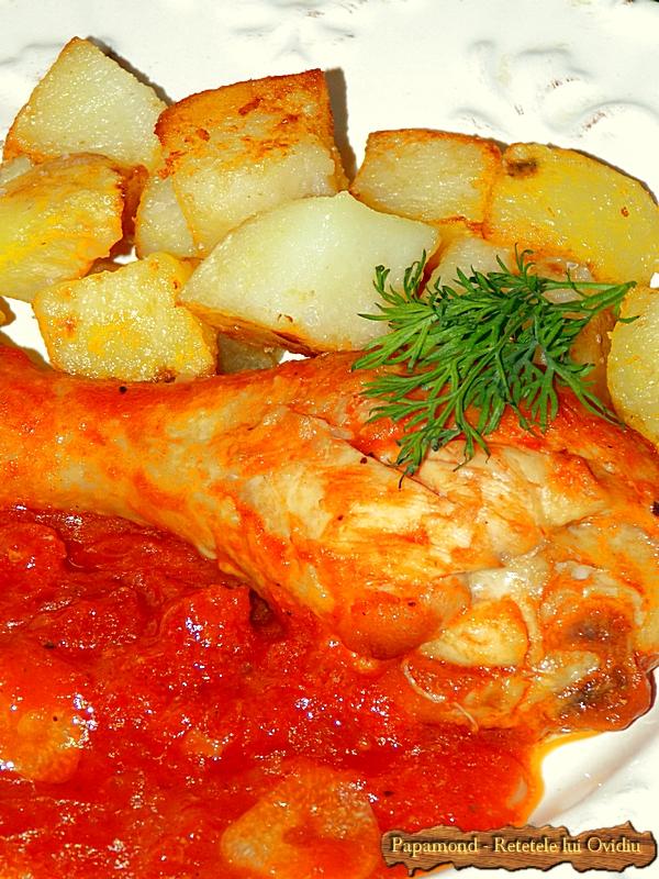 pulpe de pui cu sos de rosii si cu cartofi pufosi - Papamond (8)