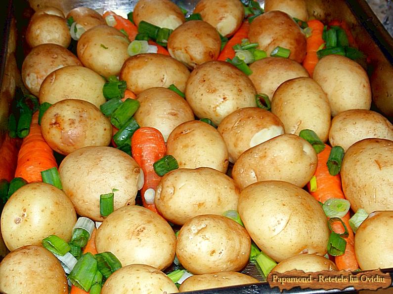Cartofi noi cu morcovi si ceapa verde