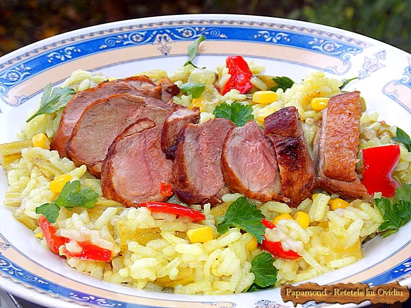 Carne de rata cu orez si bame (1)