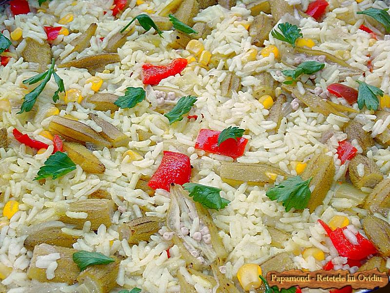 Carne de rata cu orez si bame (5)