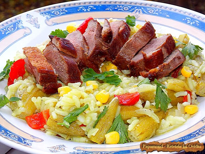 Carne de rata cu orez si bame (7)