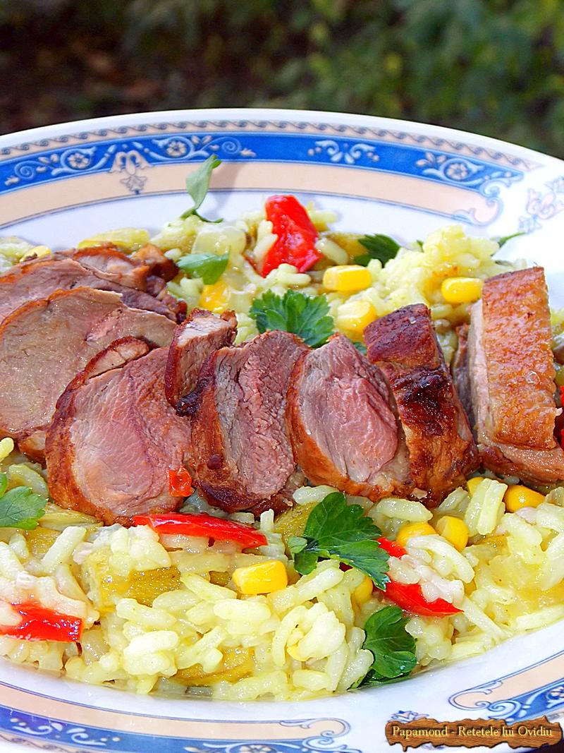 Carne de rata cu orez si bame (8)