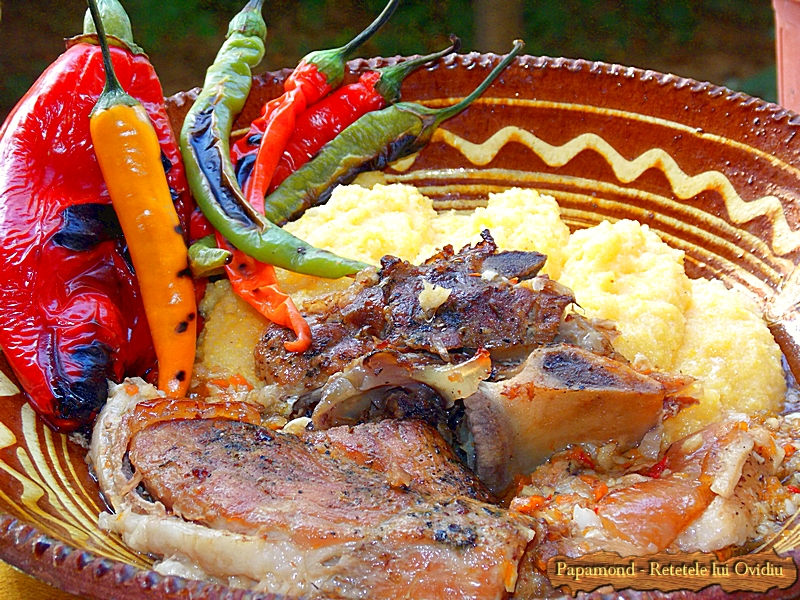 Pulpa de porc la cuptor. Gatita incet in zeama de usturoi (2)