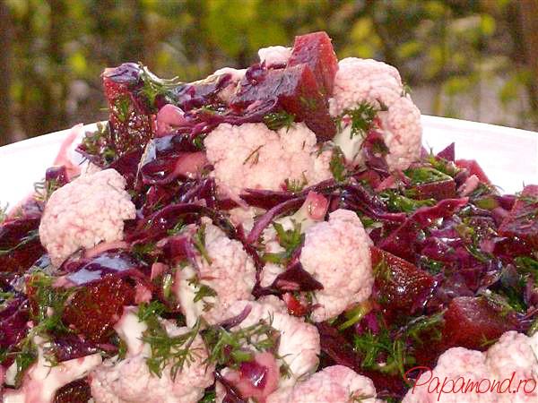 salata tomnatica din varza rosie, conopida si sfecla rosie