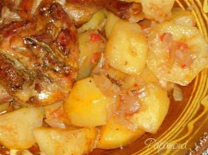 Rata pe cartofi dulci, băgată in tava
